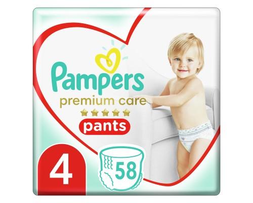 Подгузники-трусики Pampers Premium Care, размер 4, 9-15 кг, 58 шт