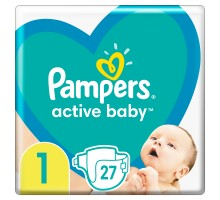 Подгузники Pampers Active Baby, размер 1, 2-5 кг, 27 шт